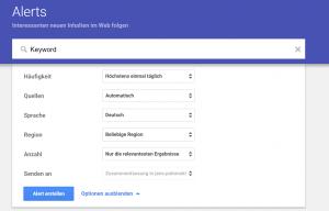 Google Alerts Einstellungen