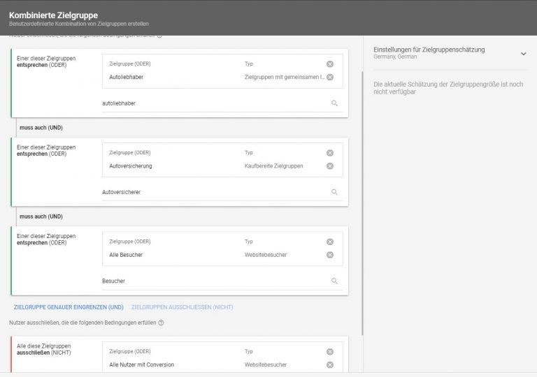Google Ads kombinierte Zielgruppen Beispiel