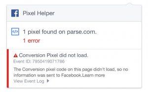 Facebook Pixel Helper Screenshot