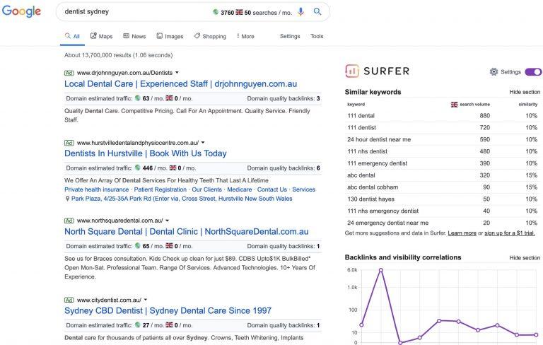 Keyword Surfer Screenshot