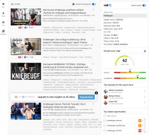 vidiq daten in der YouTube Suche