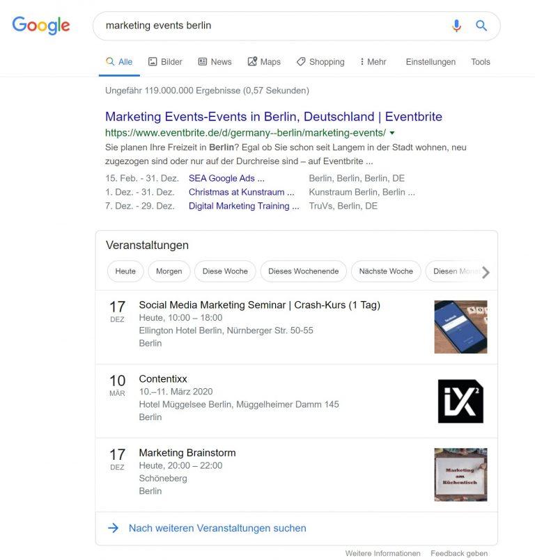Google Events in den Suchergebnissen