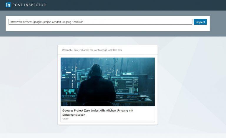 LinkedIn Post Inspector Screenshot