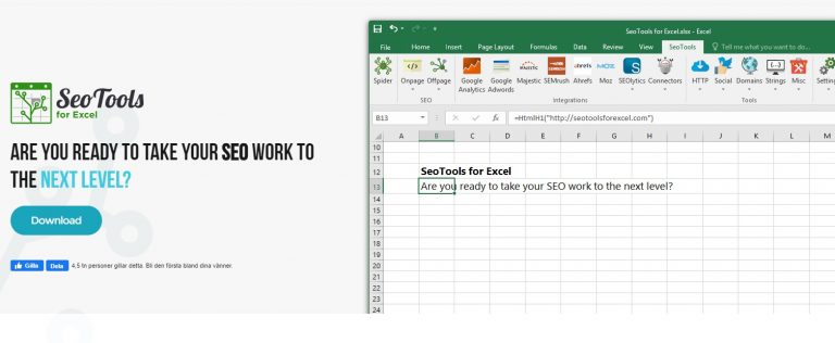 SEOTools for Excel Screenshot