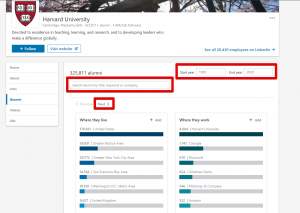 LinkedIn Alumni Tool Screenshot