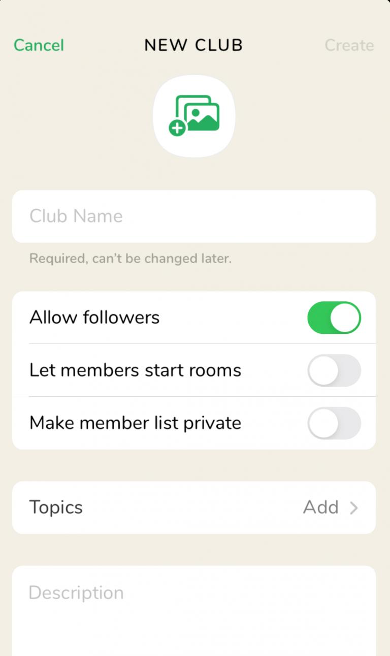 Clubhouse Club erstellen